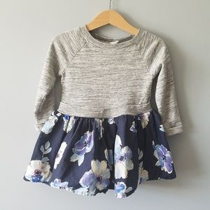 Baby Gap Dress 2t Gray and Blue Floral
